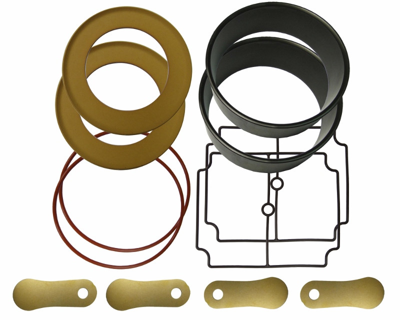 Rings, gaskets and parts from an aeration compressor rebuild kit