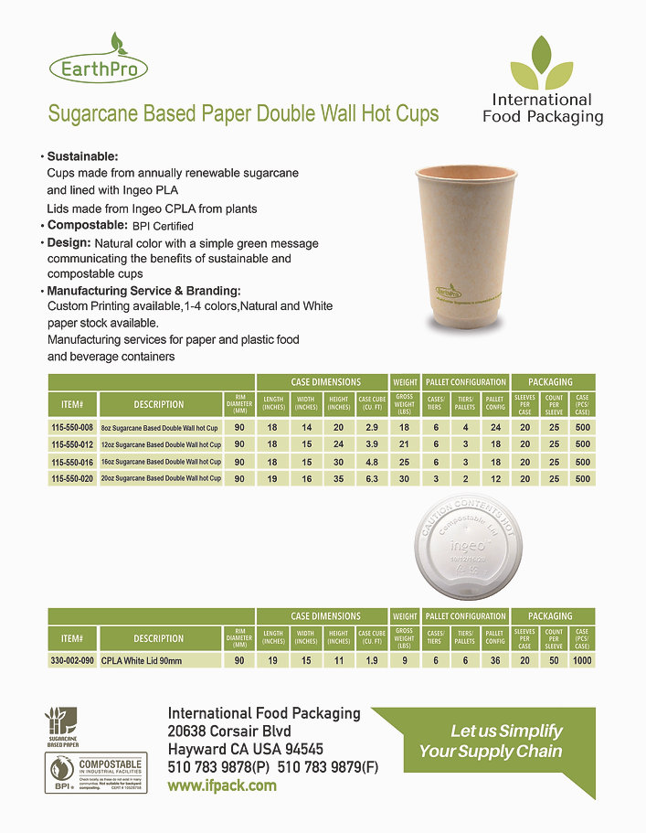 Sugarcane Based Paper Double Wall Hot Cu