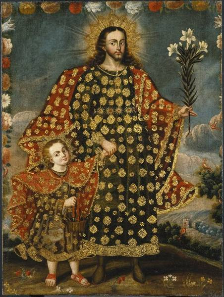 St Joseph and the Christ Child - Painting at the Brooklyn Museum, Cuzco School