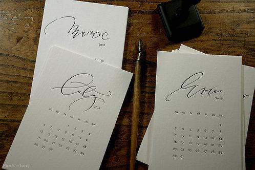(wkład) kalendarz biurkowy 2018 hello Calligraphy