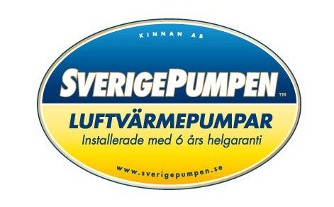 Äldre version av SverigePumpens logotype som togs fram under luftvärmepumpens guldålder.