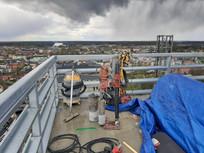 Borrning på tak 25vån upp i Norrtälje