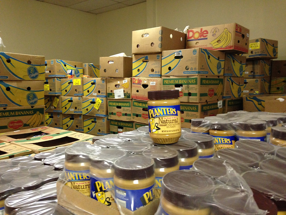The Center's processing room after a delivery of food.