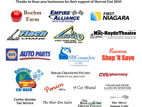 A BIG thanks to Harvest Fest Sponsors
