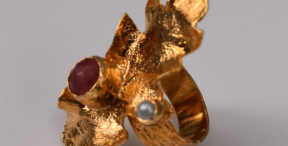 Chunky Bling Ring - Textured Leaf