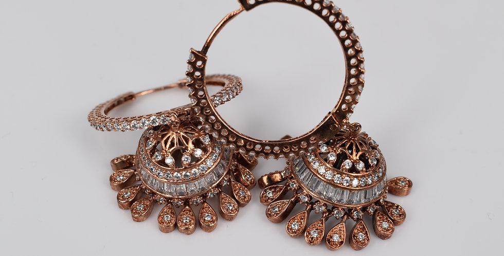 Rose Gold Diamond Style Hoops