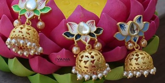 Mini Lotus Cutwork Jhumkas
