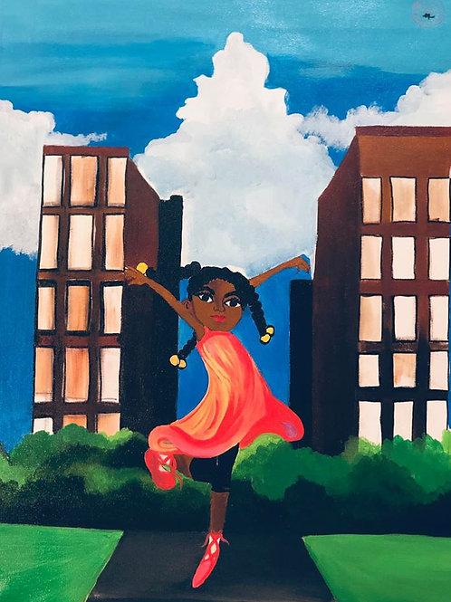 Ballerina in the city Canvas Wall Art
