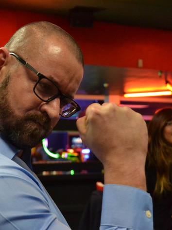 Having fun at work. Owner Gareth Roberts has fun at team night.