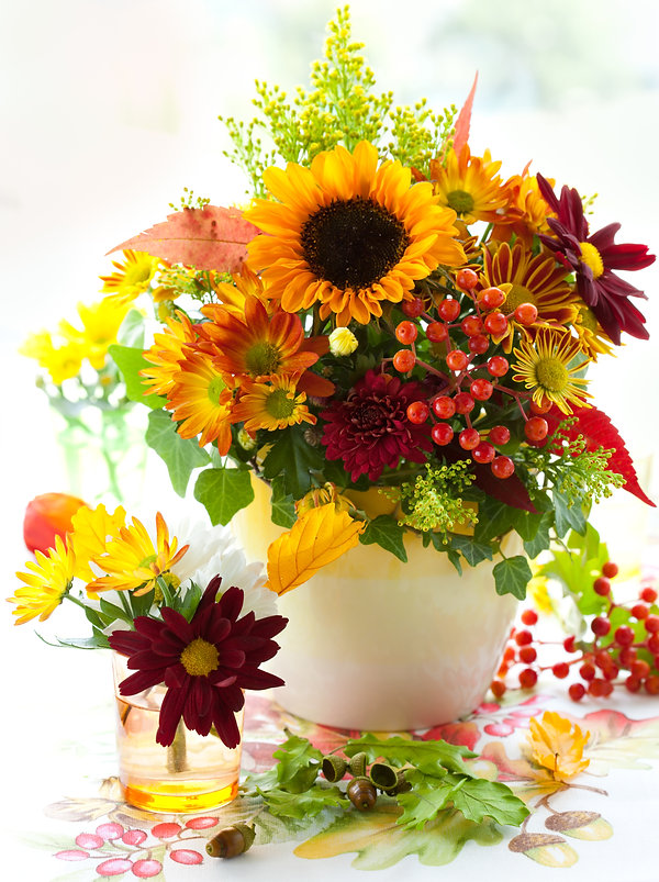 still life with autumnal flowers and ber
