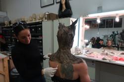 Tania in action, Tania applying foam latex prosthetic