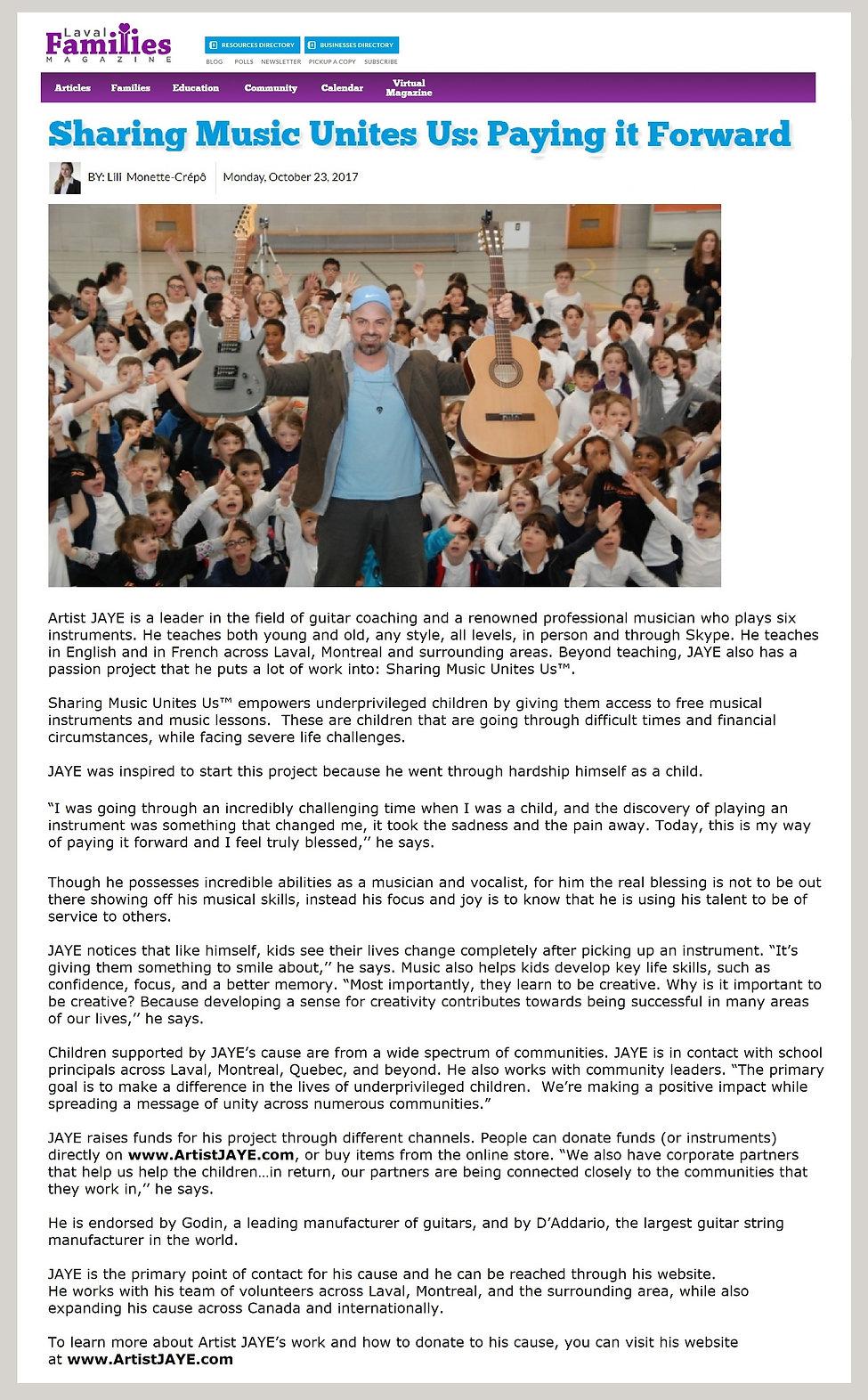 Laval Families Magazine - Artist JAYE's Sharing Music Unites Us™ cause