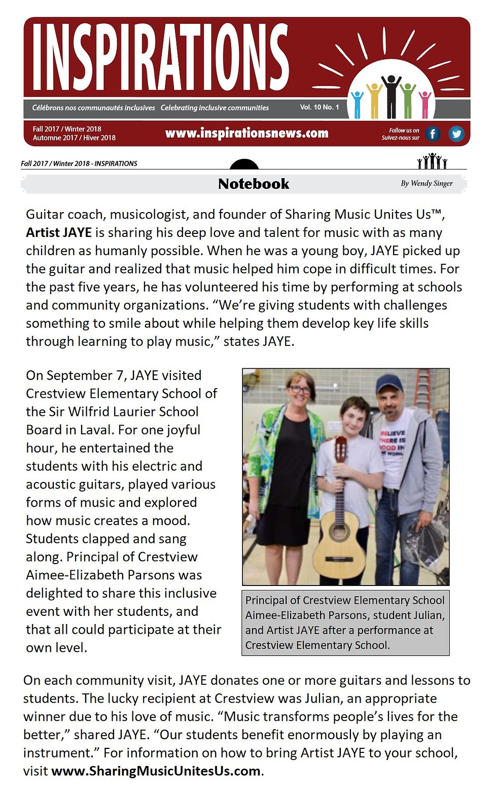 Inspirations Magazine, SWLSB, Sir Wilfrid Laurier School Board, Guitar Teacher, Artist JAYE's Sharing Music Unites Us™ cause
