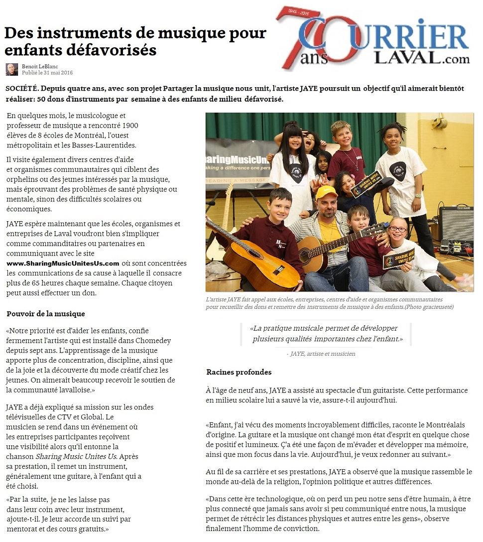 La cause Partager la musique nous unit™ de l'Artiste JAYE (www.LeGuerrierDeLaGuitare.net)