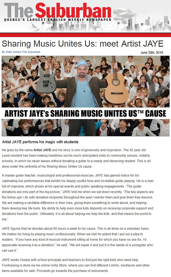Artist JAYE's Sharing Music Unites Us™ cause
