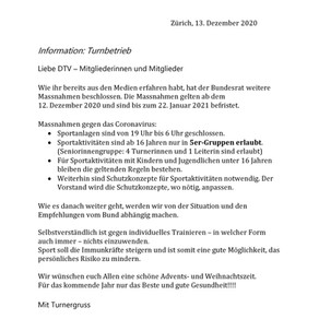 Informationen Turnbetrieb Dez. 2020