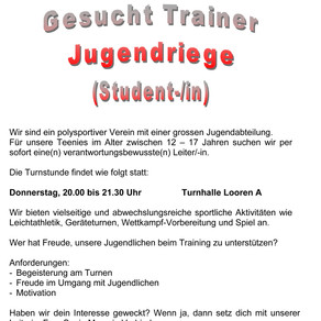 Trainer Jugendriege (Student-/in) gesucht!