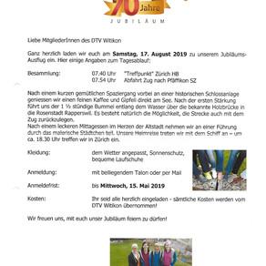 70 Jahre DTV Witikon Jubiläumsturnfahrt