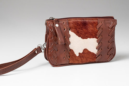 American West Leather and Cowhide Clutch