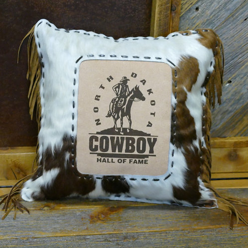 North Dakota Cowboy Hall of Fame Leather Pillow