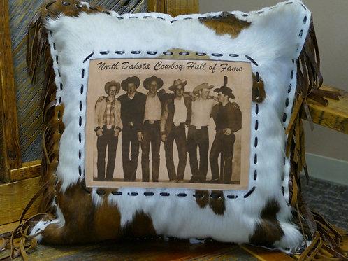 "North Dakota ""Six Pack""Leather Pillow"