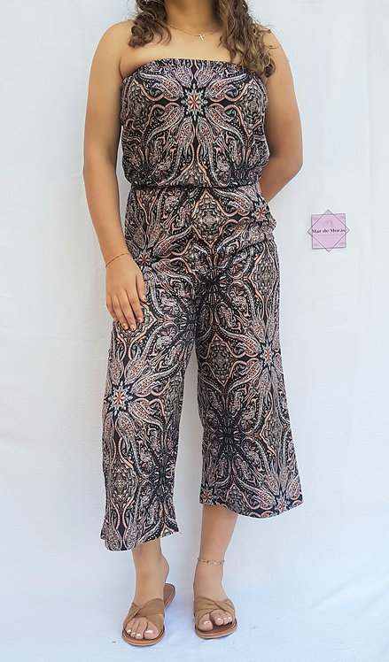 Brown Print Jumpsuit