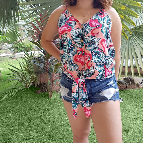 Buttoned Floral Tank Top
