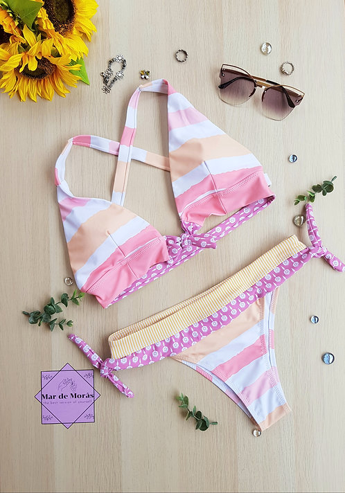 Flutter Beige Stripes Swimwear