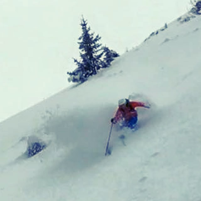 Reaching for that next turn in Les Arcs last season #ski #skiinstructor #snow #powder #freeski #lesa