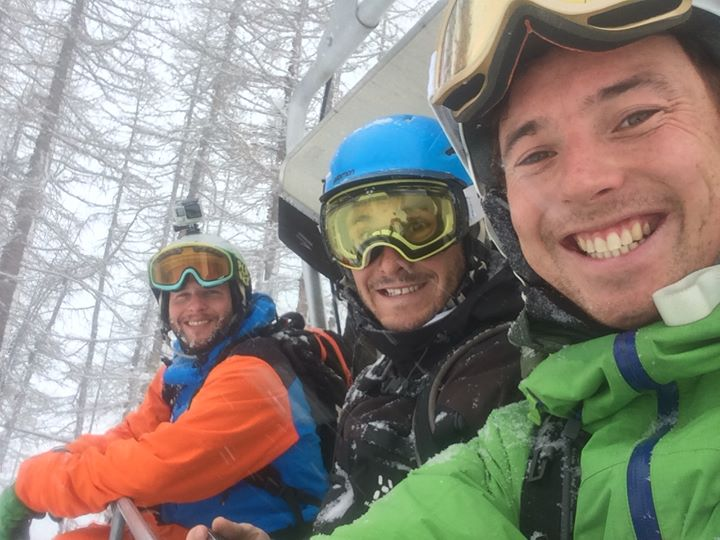 Skiing deep pow with the boys