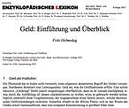 Fritz Helmedag: Einführung zu Geld