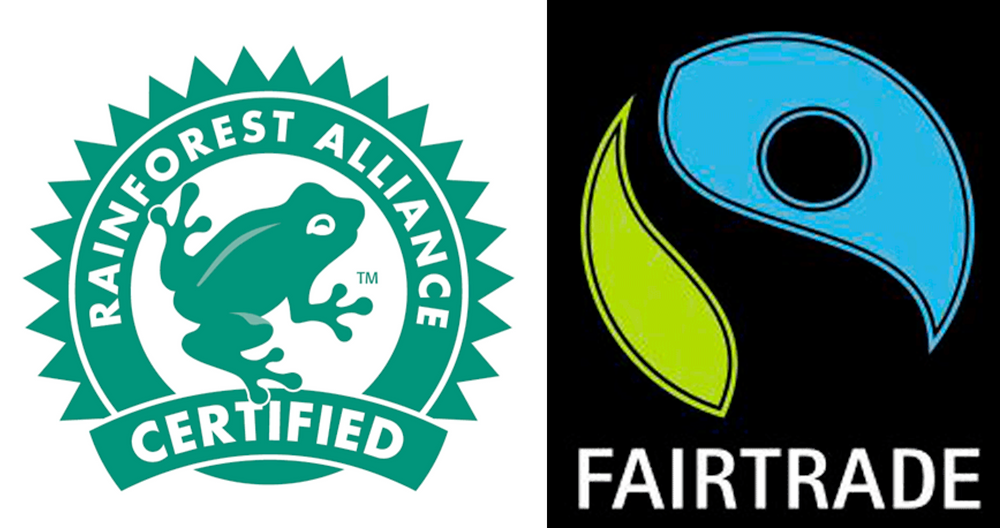 Rainforest Alliance & Fair Trade logos