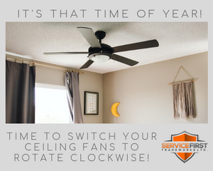 Save heat by switching your ceiling fan to clockwise