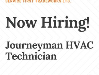 Now Hiring!  Journeyman HVAC Technician
