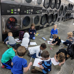 After reading Corduroy, the Butterflies took a trip to the laundry mat and made art just like in the