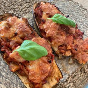 Aubergines farcies jambon - tomates - mozzarella