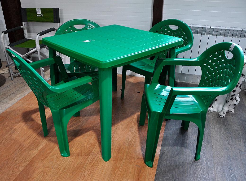 Мебель садовая пластиковая, стол 800*800*740