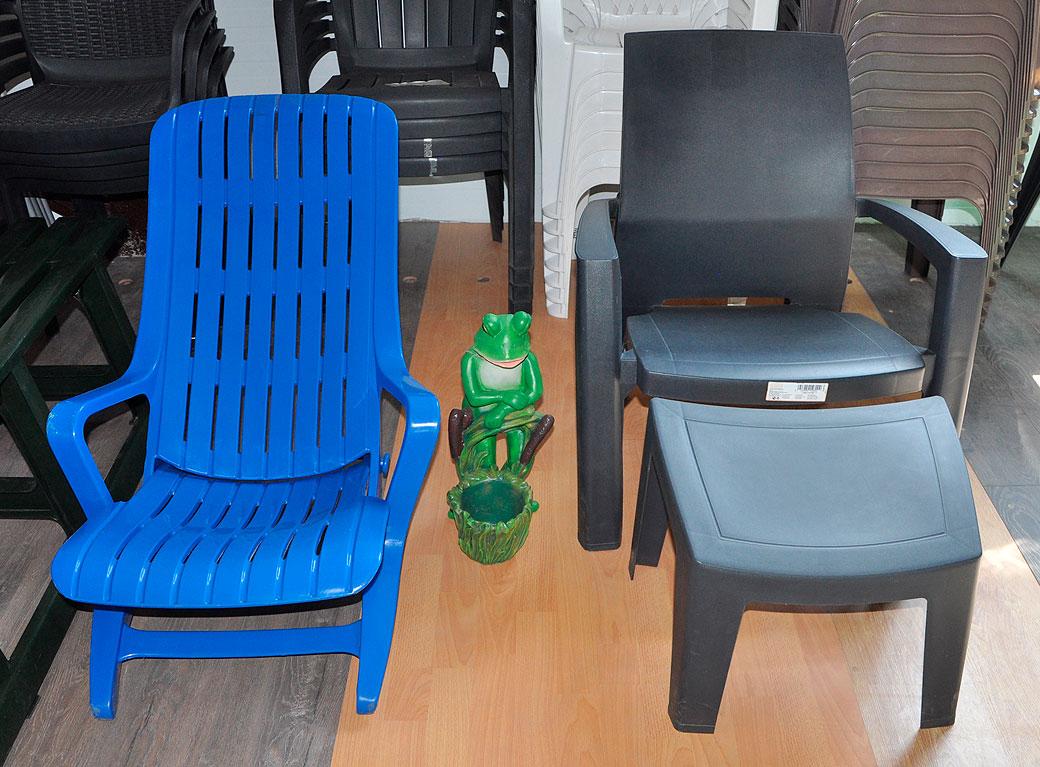 Шезлогн №1 синий; стул + подножка Lago Lounge Curver