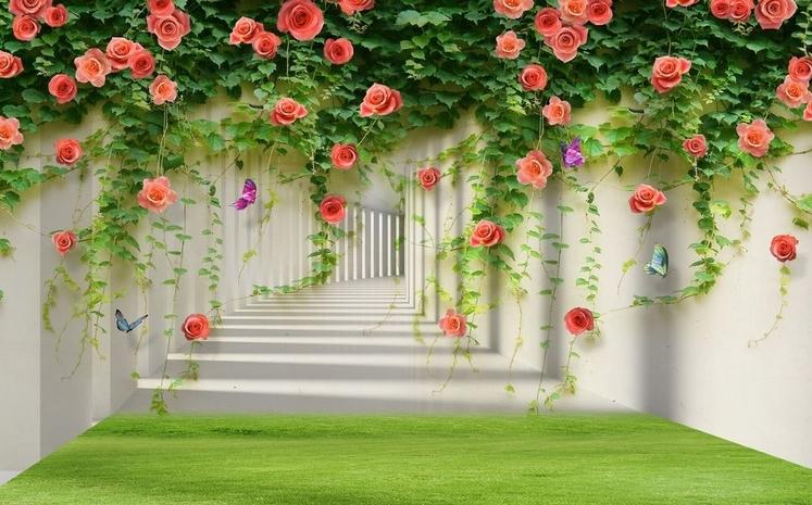 Тоннель с лианами роз