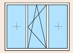 Окно пластиковое трёхстворчатое