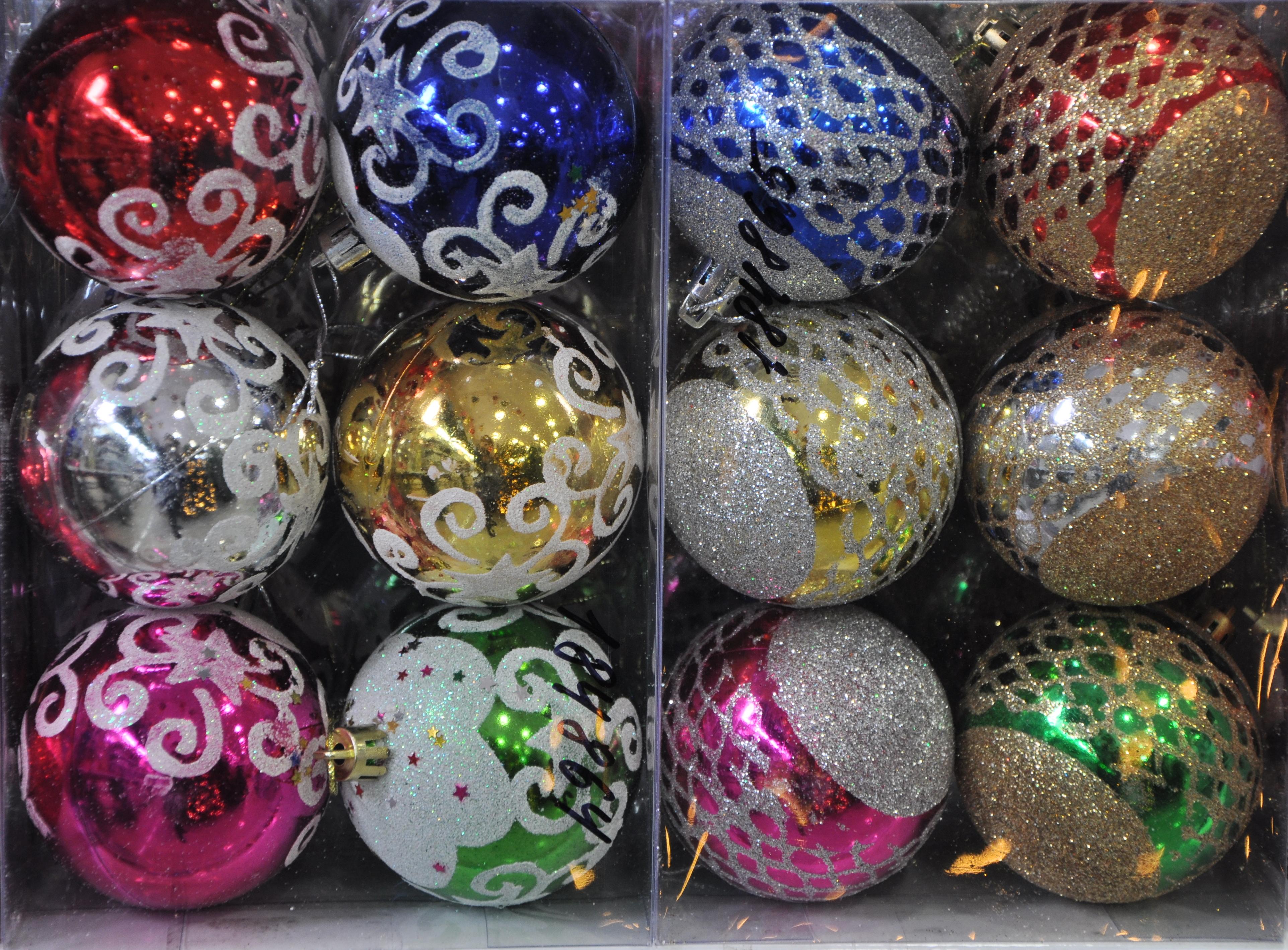 набор шары ёлочные пластиковые