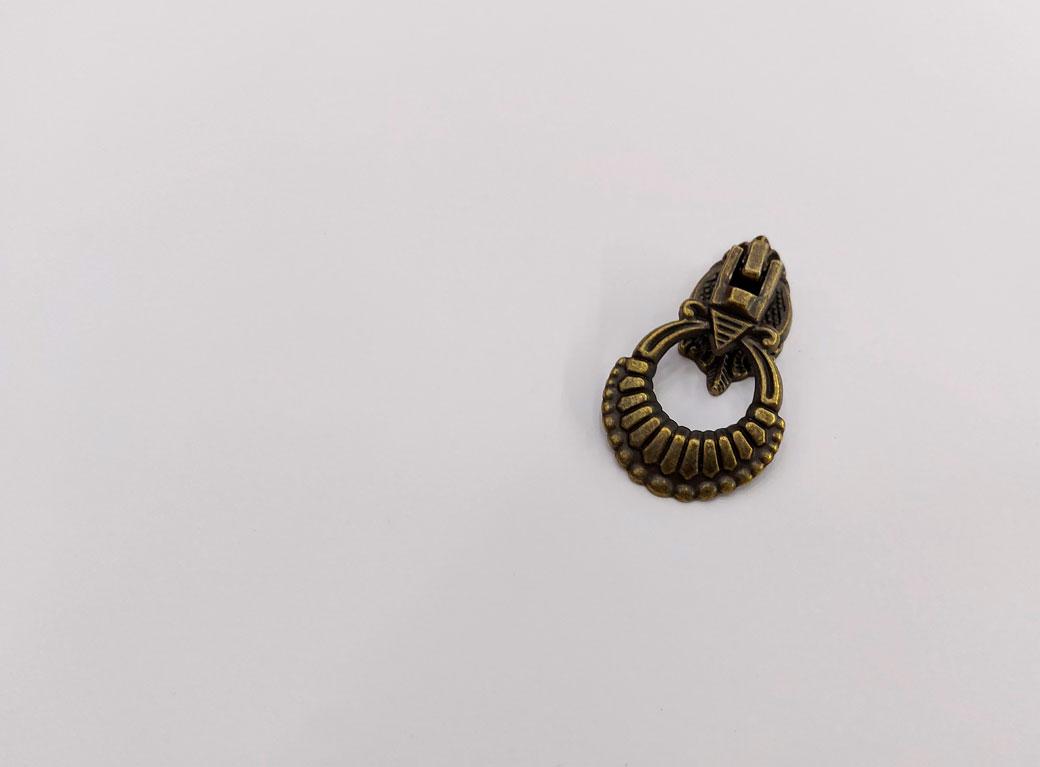 Ручка для шкатулки, металл, кольцо+винт, бронза, 6*1,5*3,2 см