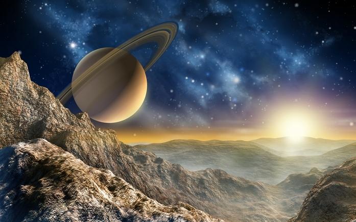 Астероид с видом на Сатурн