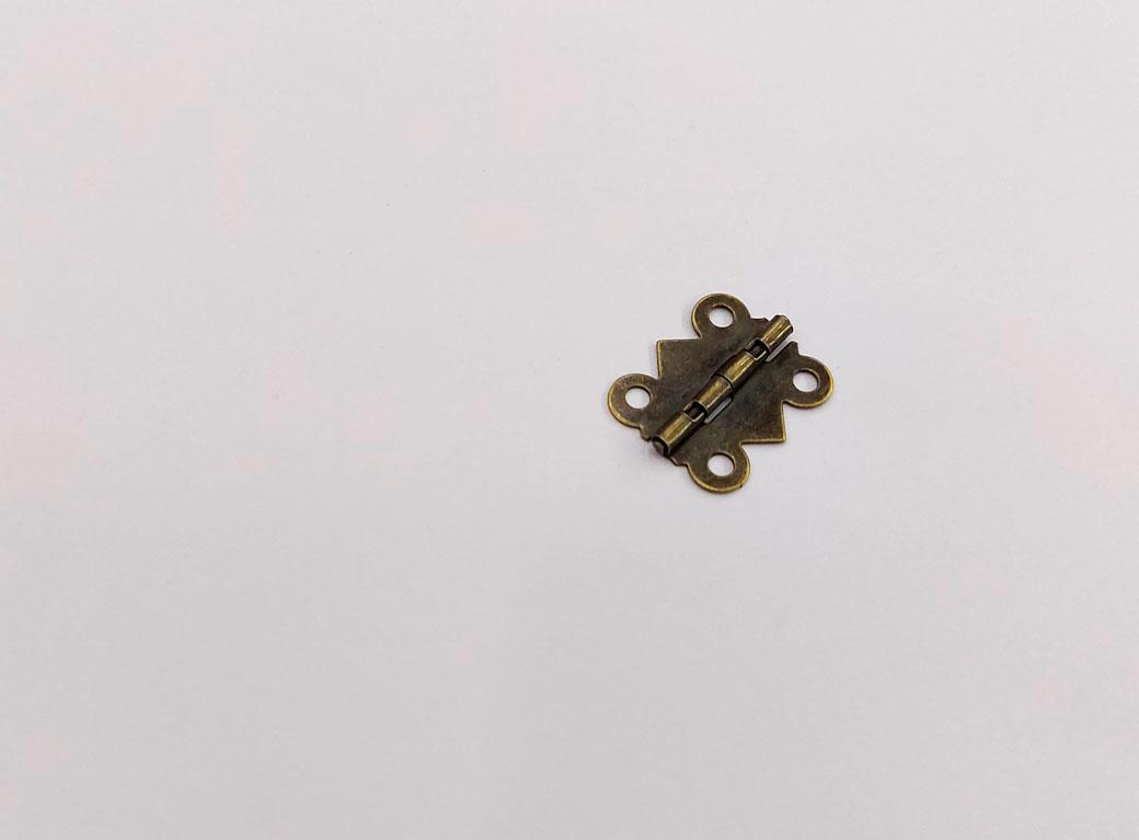 Петля для шкатулки металл, фигурная, бронза 1,5*2,1 см