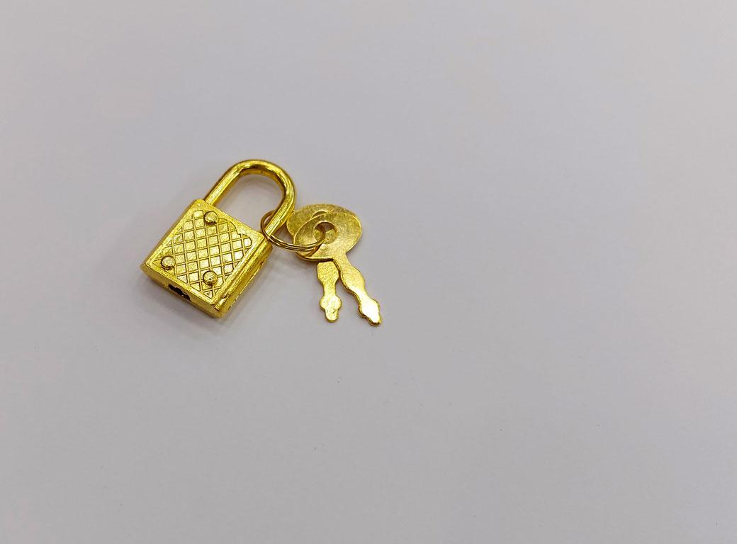 Замочек для шкатулки, металл с ключом, золото, 3,1*1,7 см