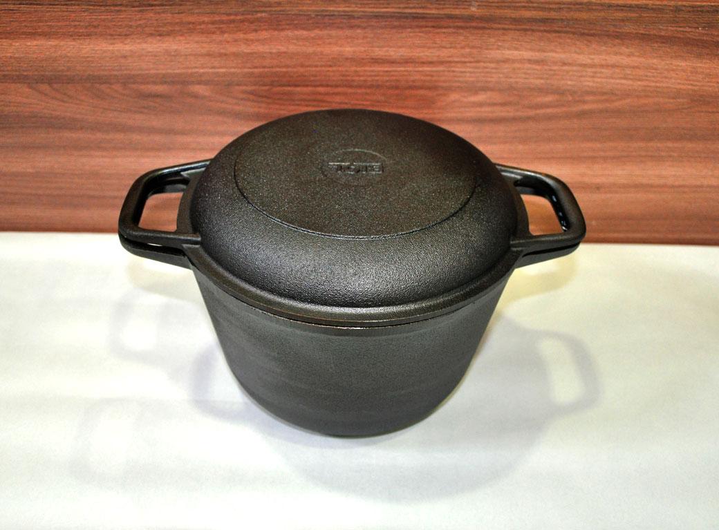 Кастрюля чугунная, крышка-сковородка