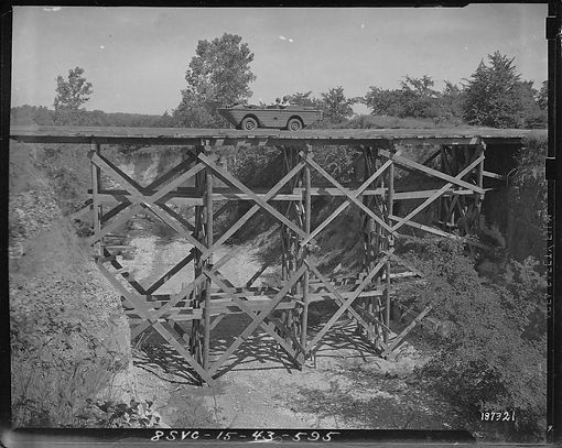 Jeep o bridge at Gainesville TX in 1940