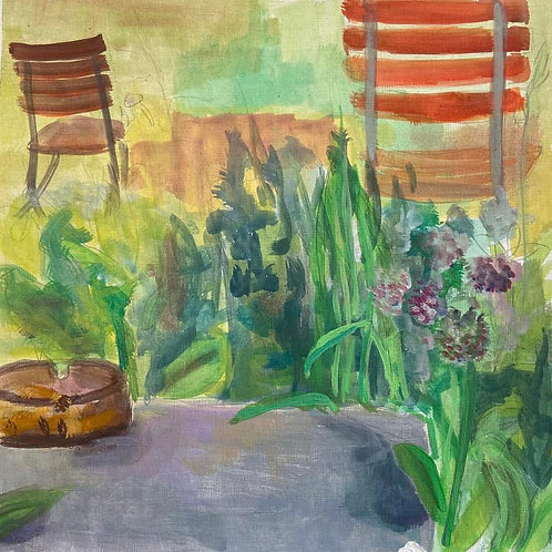 Judith Marty - Der Garten Acrylgemälde 30x30cm gerahmt