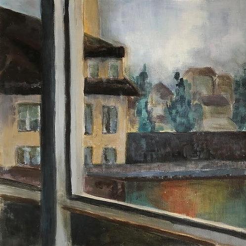 Judith Marty - Das Fenster Acrylgemälde 30x30cm gerahmt