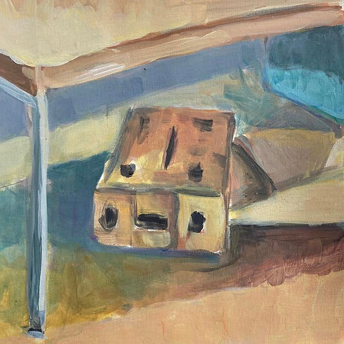 Judith Marty - Die Boxen braun Acrylgemälde 30x30cm gerahmt